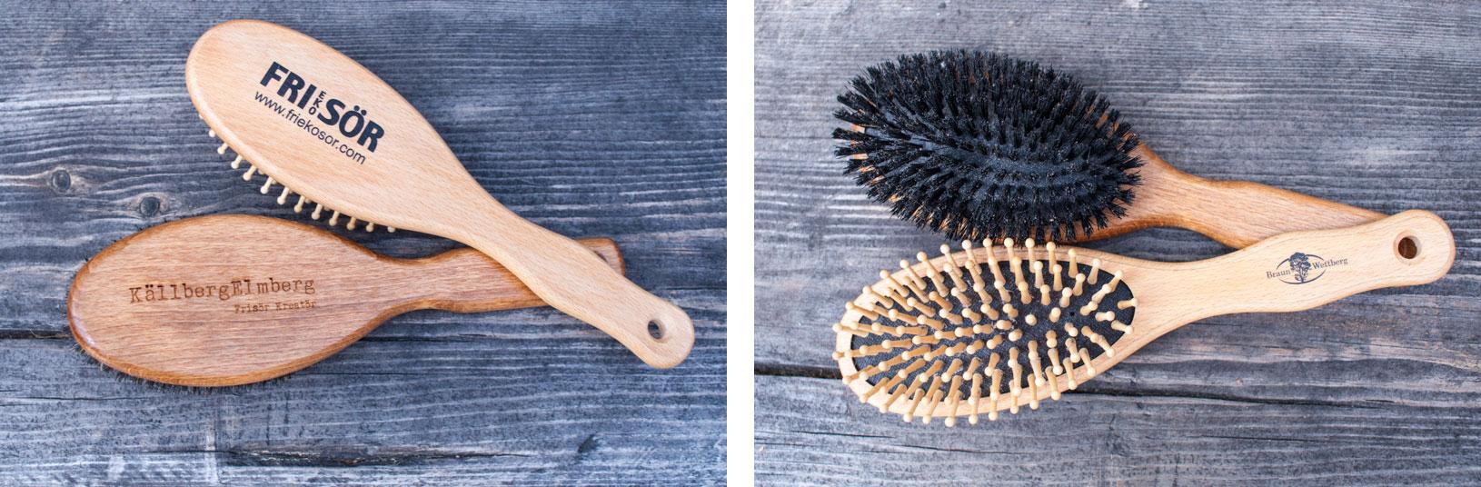 Hårborstar i trä