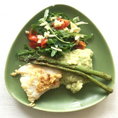 Panerad torsk med broccoli- och blomkålsmos