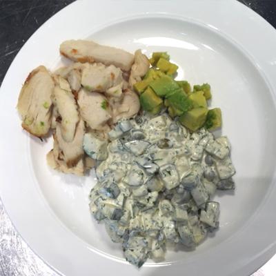 Falsk potatissallad med kyckling