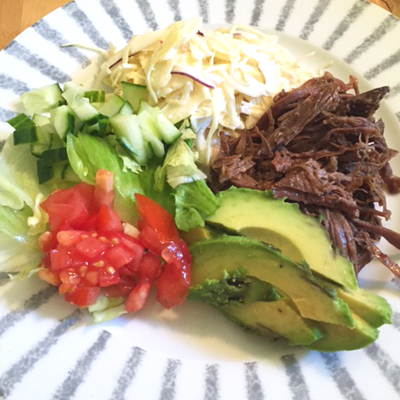 Pulled beef med cole slaw