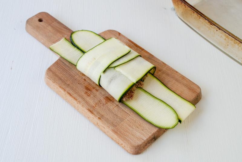 Zucchiniravioli med kalkon och spenat